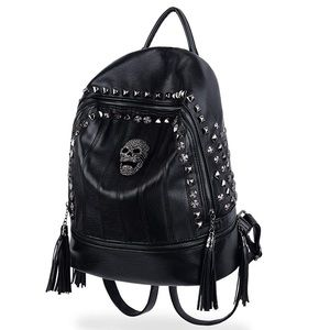 NEW BACKPACK PU LEATHER SKULL